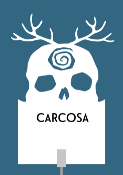 Design for a papercut wedding table name sign with the silhouette of an antlered skull with a spiral on its forehead