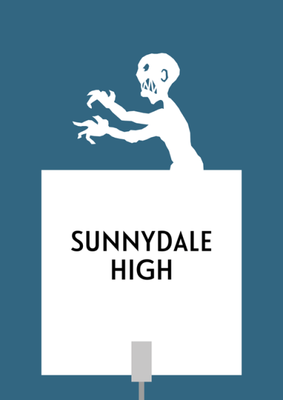 "Design for a papercut wedding table name sign with the silhouette of the end-credit ""Grr, Argh"" vampire monster"