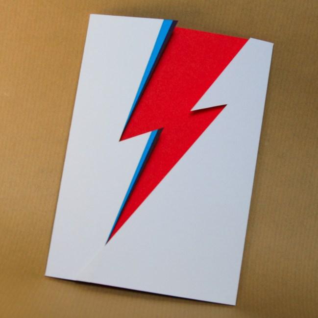 David Bowie / Ziggy Stardust inspired papercut card