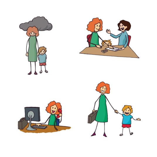 A sequence of images. An unhappy family. The parent getting some help. The parent, now happy at work. The family looking happy.