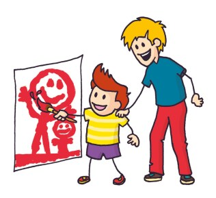 Colourful illustration of a child and their minder painting