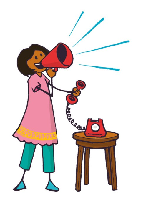 Colourful illustration of a woman using a megaphone whilst holding a phone