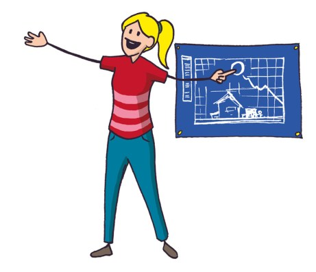 Colourful illustration of a woman presenting a blueprint