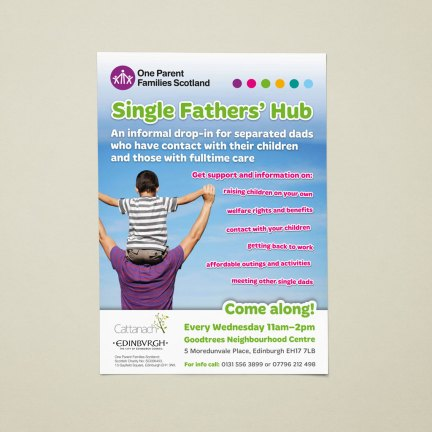 OPFS Single Fathers' Hub service promotional poster (A4)