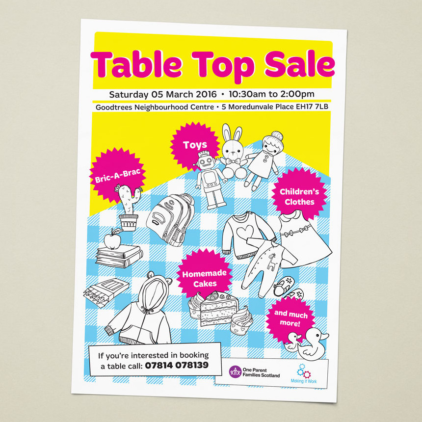 Brightly coloured poster depicting simple table and items for sale