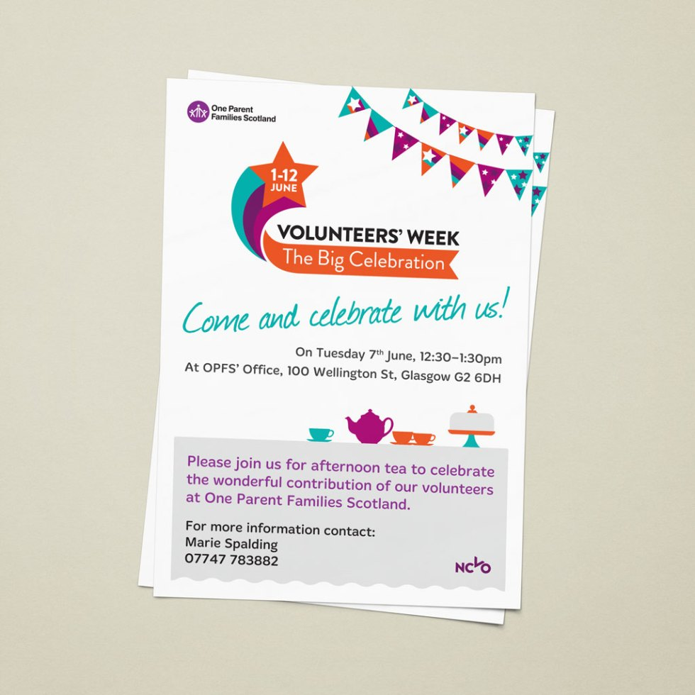 Modern flat-designed A4 volunteers' week poster