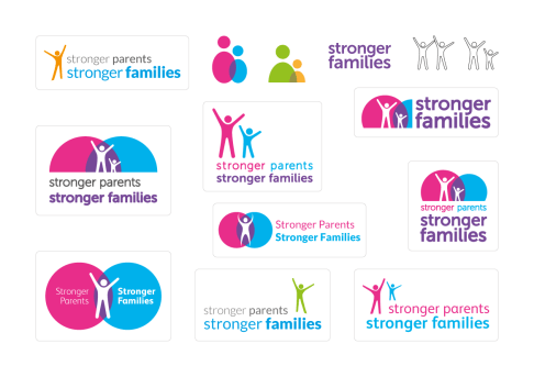 Various creative iterations and ideas for the Stronger Families logo