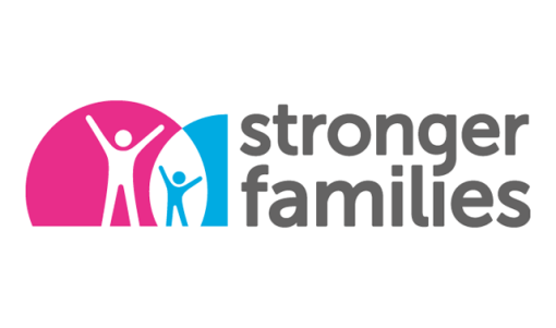 Logo depicting stylised depictions of a parent and child, contained within part of a Venn diagram, next to the words 'Stronger Families'