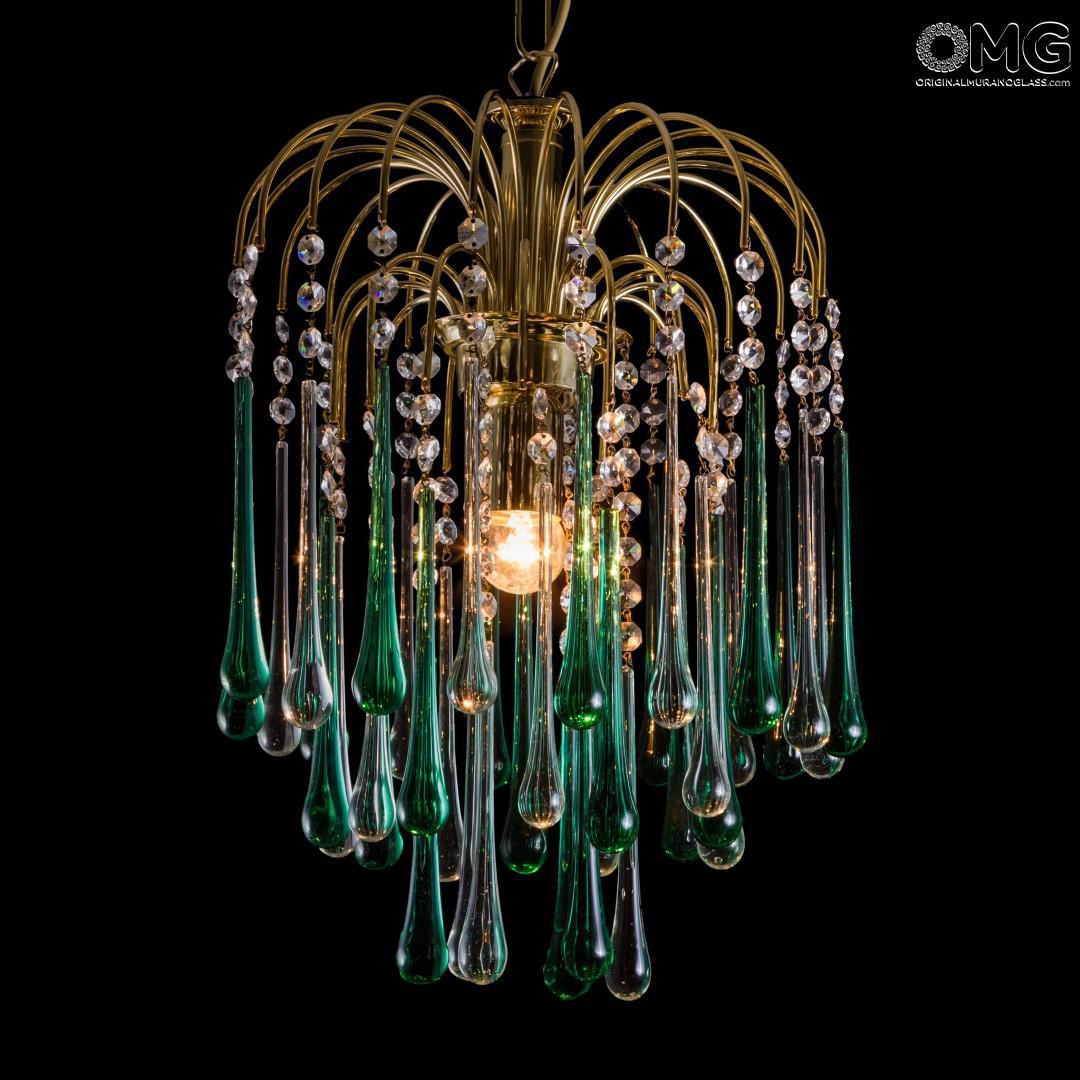 Drop Chandelier In Green Clear Glass Original Murano