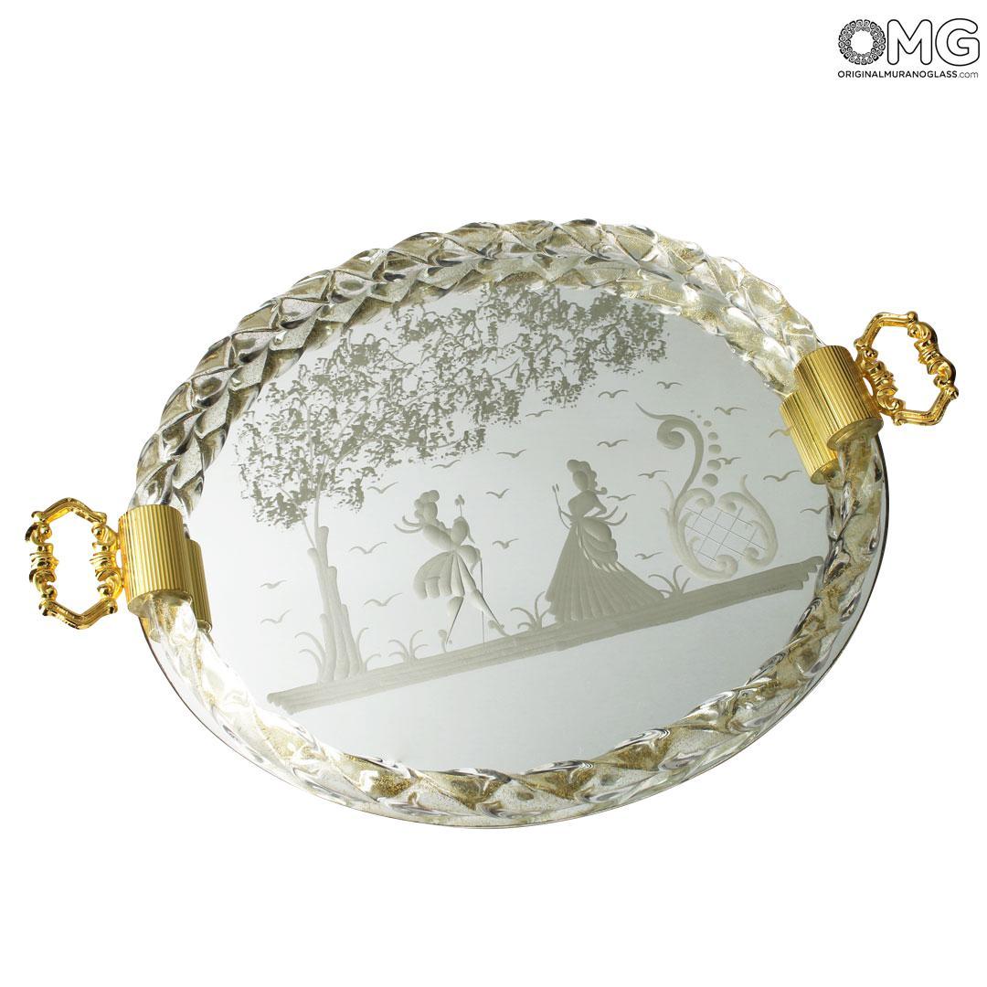 elisabetta tray engraved handcraft original murano glass omg