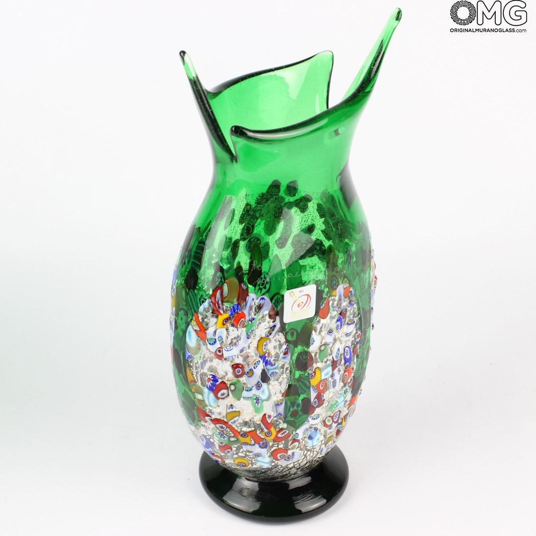Orchidea Green Flowers Vase Murano Glass Millefiori