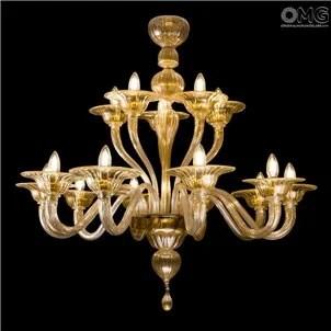 Chandelier Primiero 15 Lights Paste Murano Glass Gold 24carats