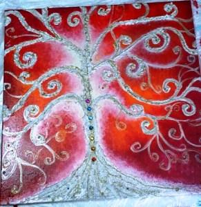 L'albero della vita - Quadro acrilico con malte strutturali, glitter, strass - 50x50x2