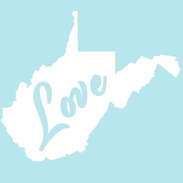 West Virginia Love Decal White 600
