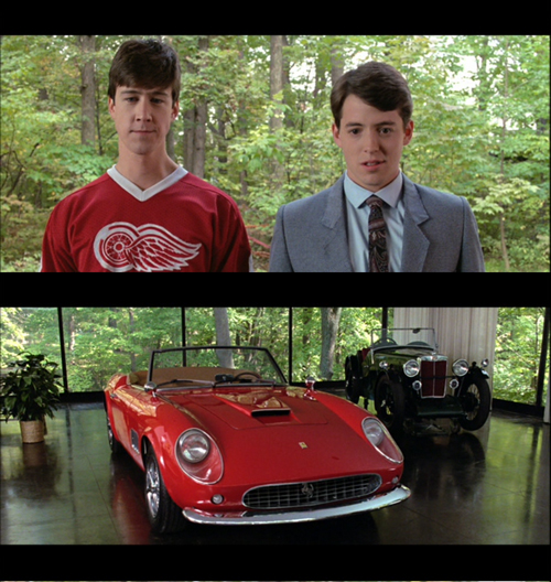 Ferris Bueller, de Curtindo a vida adoidado, olhando para uma Ferrari