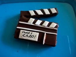 Clapperboard in chocolate, fondant and edible ink