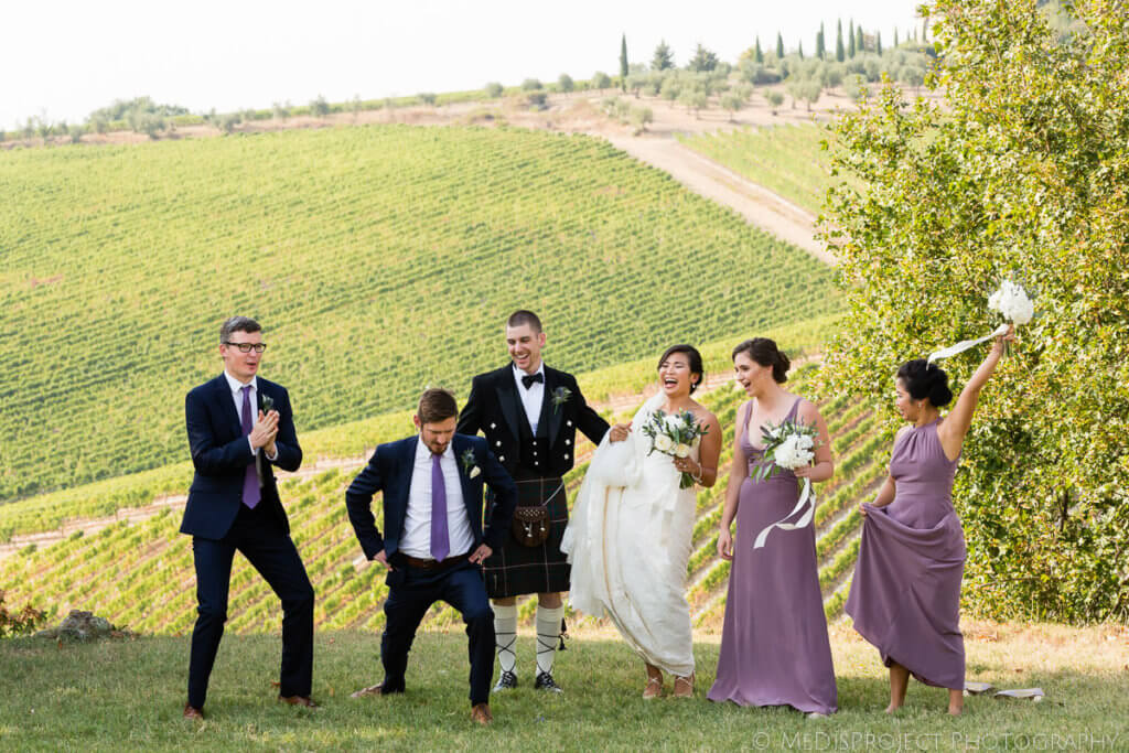 fun wedding in a tuscan winery