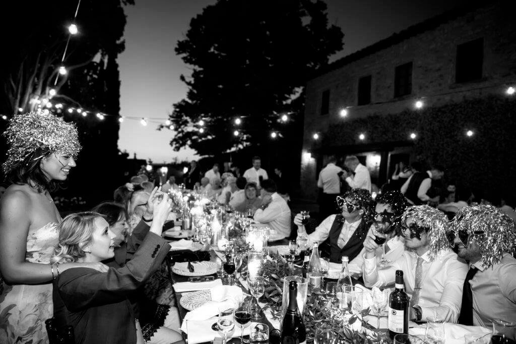 Guests and spouses enjoy dinner