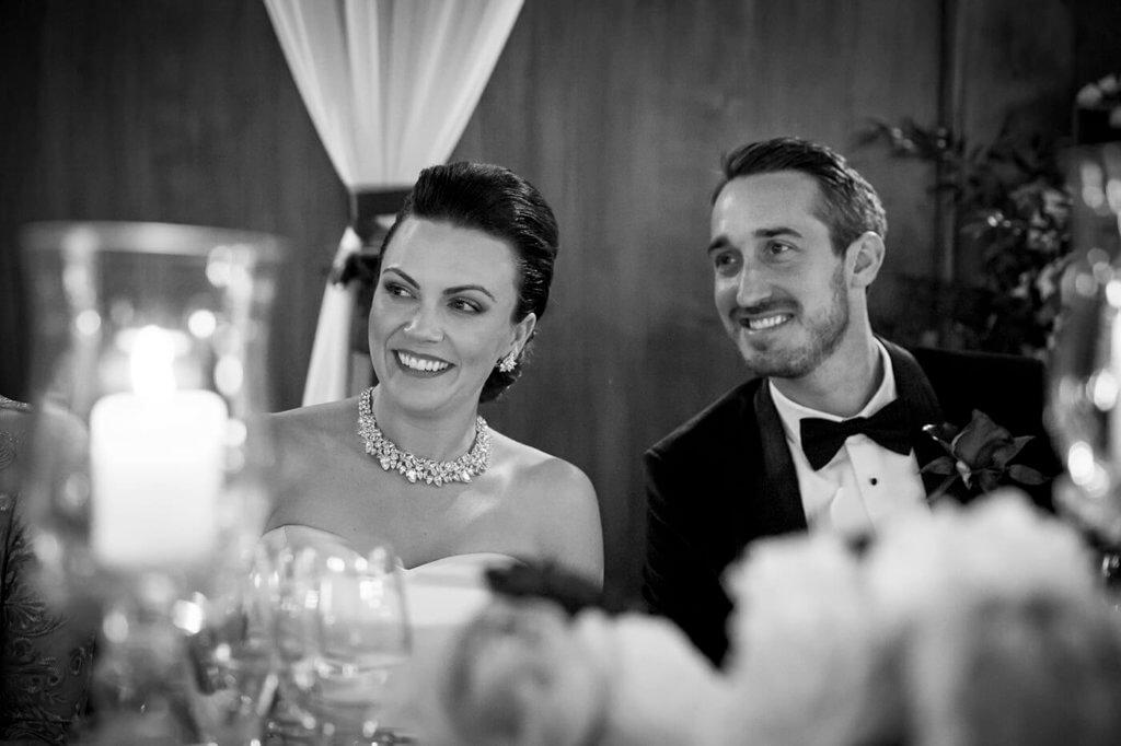 Isabelle & John have fun during their wedding dinner