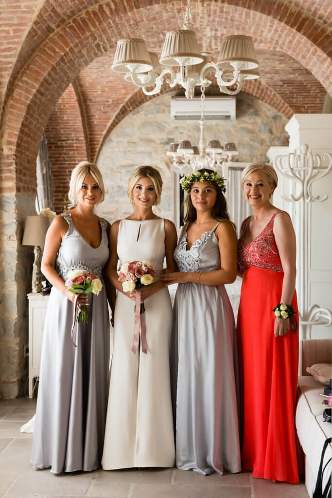 Bridesmaids and bride are ready for the ceremony