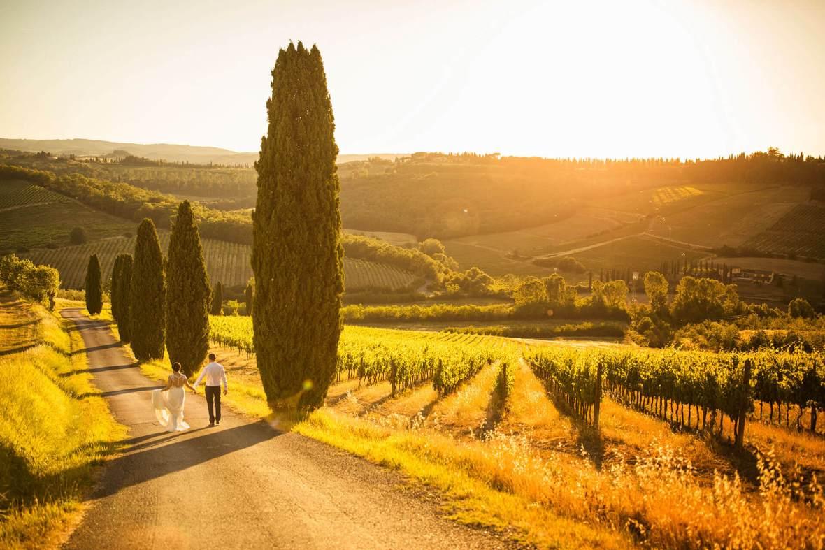 Anya & James walk through the vineyard