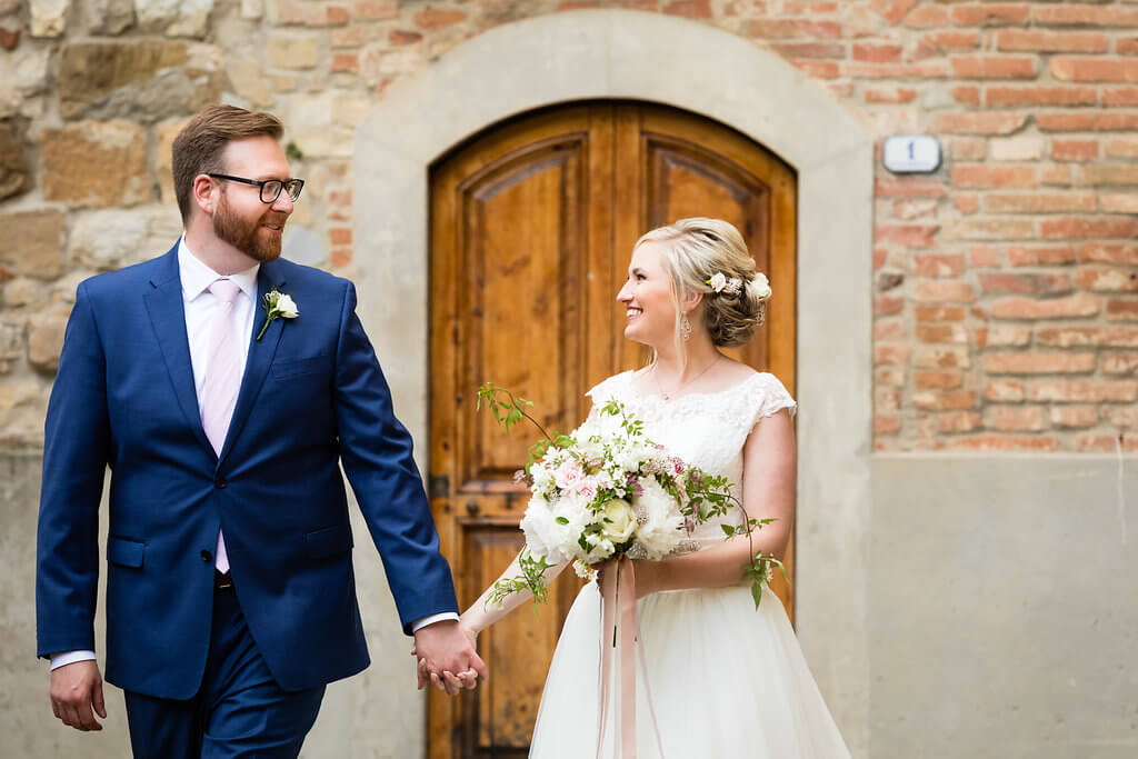 Civil ceremony in an tuscan medieval town