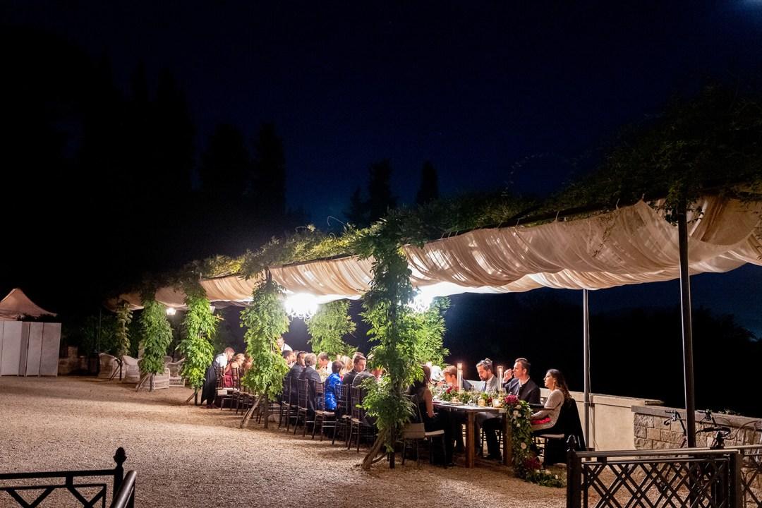 al fresco wedding dinner in Florence