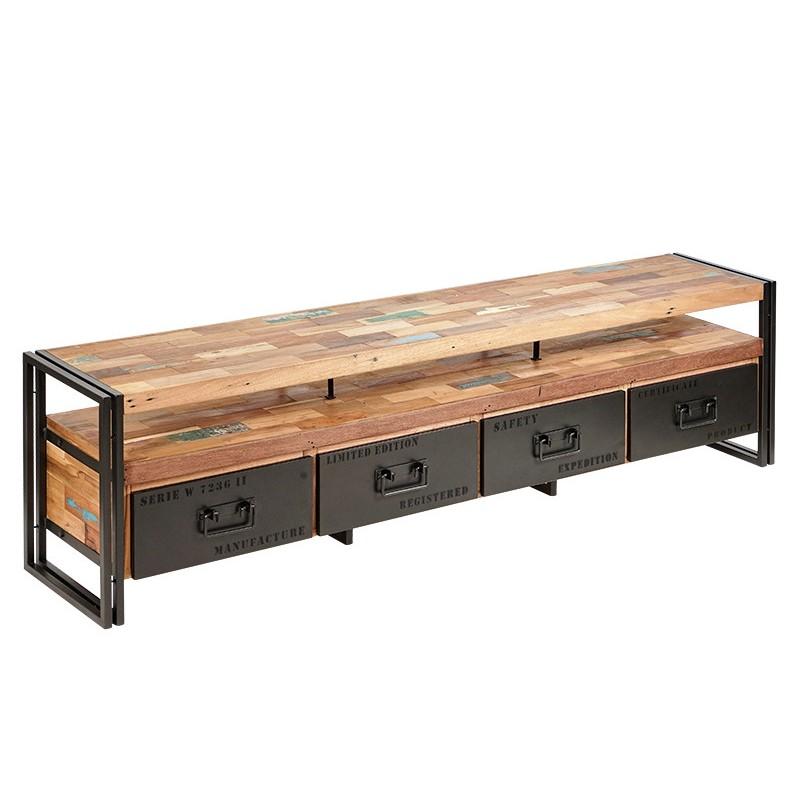 meuble tv industriel 4 tiroirs factory samudra 208 cm