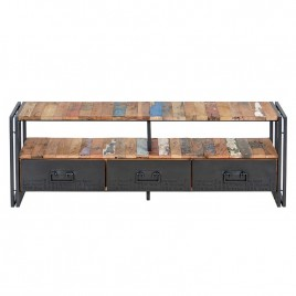 meuble tv industriel 160 cm edito 3 tiroirs