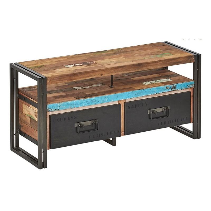 meuble tv industriel 2 tiroirs factory samudra 112 cm