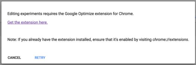 Editor de google optimize sólo compatible con un plugin de chrome