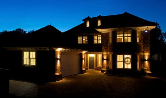 home with good security lighting placement