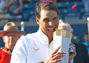 Rafael Nadal celebrates after winning the Toronto Masters tennis tournament