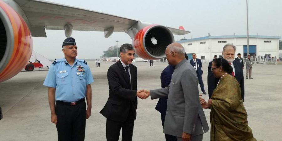 Ram Nath Kovind arrives in Croatia. (Photo   Twitter @MEAIndia) via PTI)