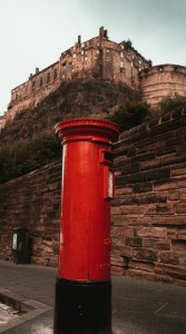 Red Post Box with Edinburgh Castle behind