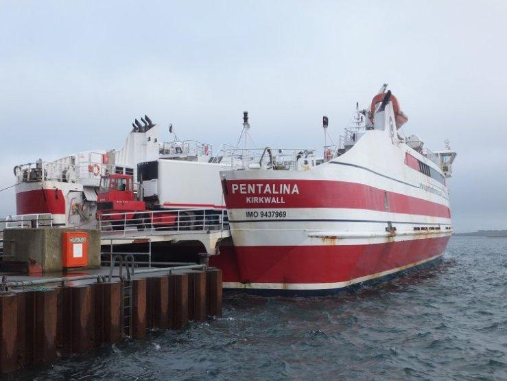 Pentalina, catamaran ferry at ferry terminal