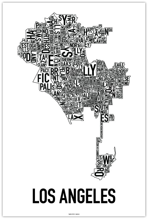 los angeles nieghborhood poster map