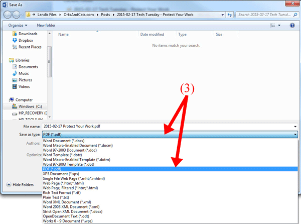 Fig. 8: Select PDF from the dropdown menu and press OK to save.