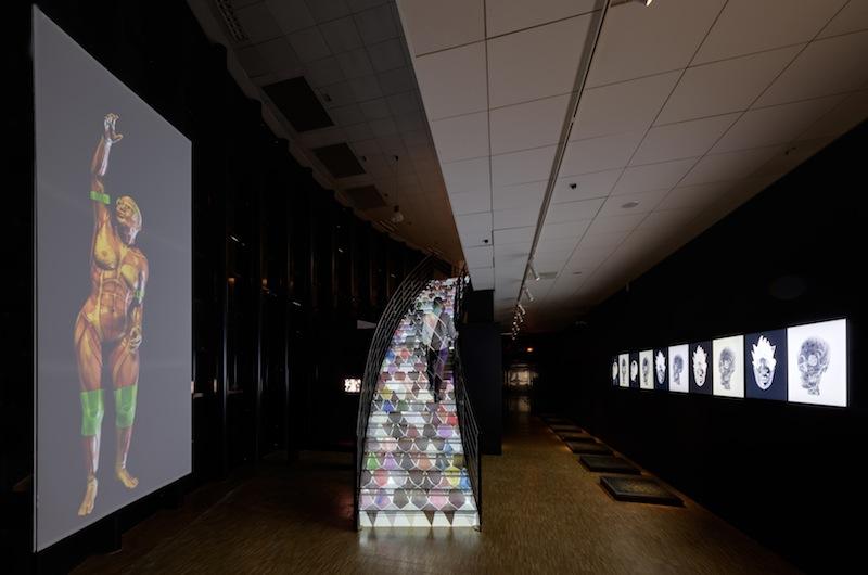 """""""Harlequin's Coat"""", exhibition view of ORLAN Striptease from cells to bones, CDA Enghien-les-bains, 2015 / """"Le Manteau d'Arlequin"""", vue d'exposition de ORLAN Striptease des cellules jusqu'à l'os, CDA Enghien-les-bains, 2015"""