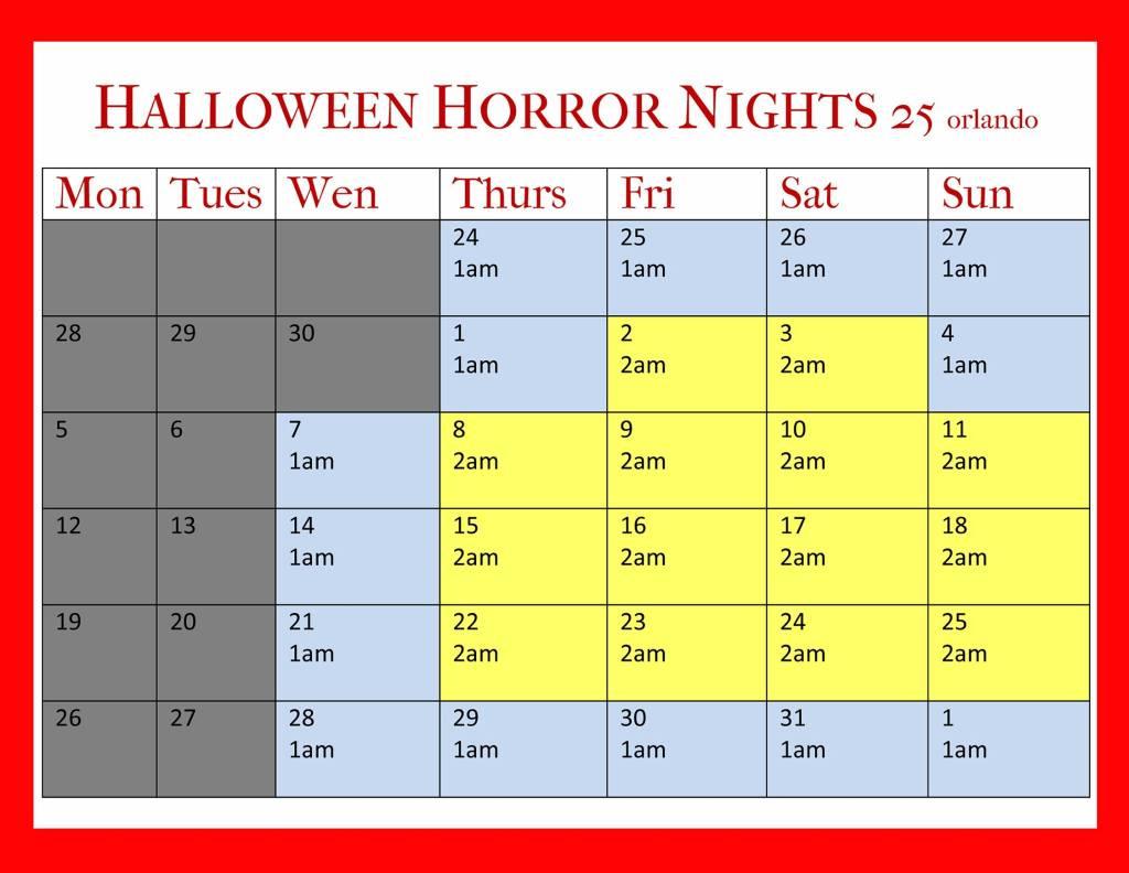 Halloween Horror Nights 25 Calendar