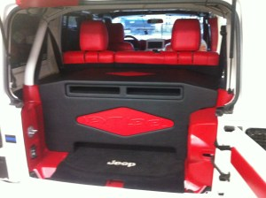 Custom Box and interior installed in a four door Jeep Wrangler.
