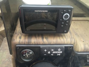 Humminbird fish finder and kicker audio controller installed in 18' G3 Johnboat.