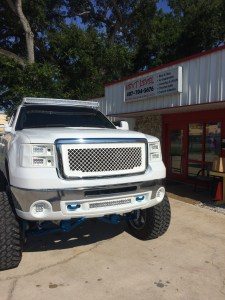 Custom Molded Headlights and bumper shroud with Rigid Industries LED lights.