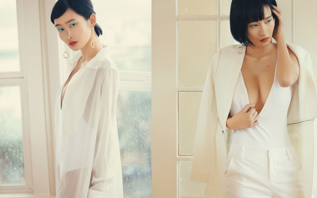 Over shirt- Alexander Wang Body suit- Flynn Skye Earring - Chloe | Jacket - Max Mara Body suit- Flynn Skye Pants DKNY