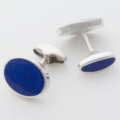 Orlap Studio hallmarked sterling silver oval lapis cufflinks