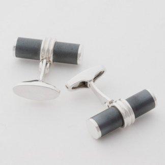 Hematite cylinder hallmarked sterling silver cufflinks