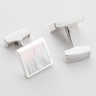 square sterling silver mother of pearl orlap studio cufflink