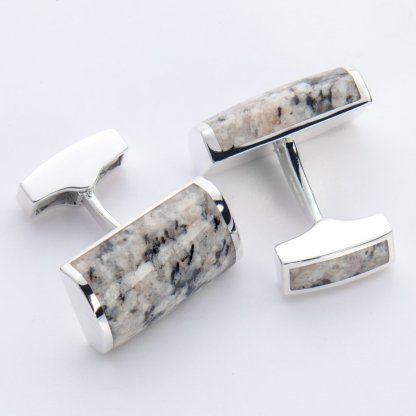 Kemnay granite rectangle hallmarked sterling silver cufflinks