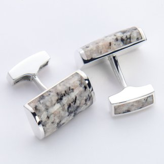 Kemnay granite rectangle hallmarked sterling silver cufflinks
