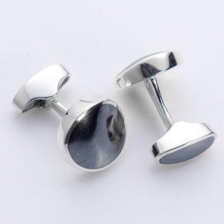 Hematite round hallmarked sterling silver cufflinks